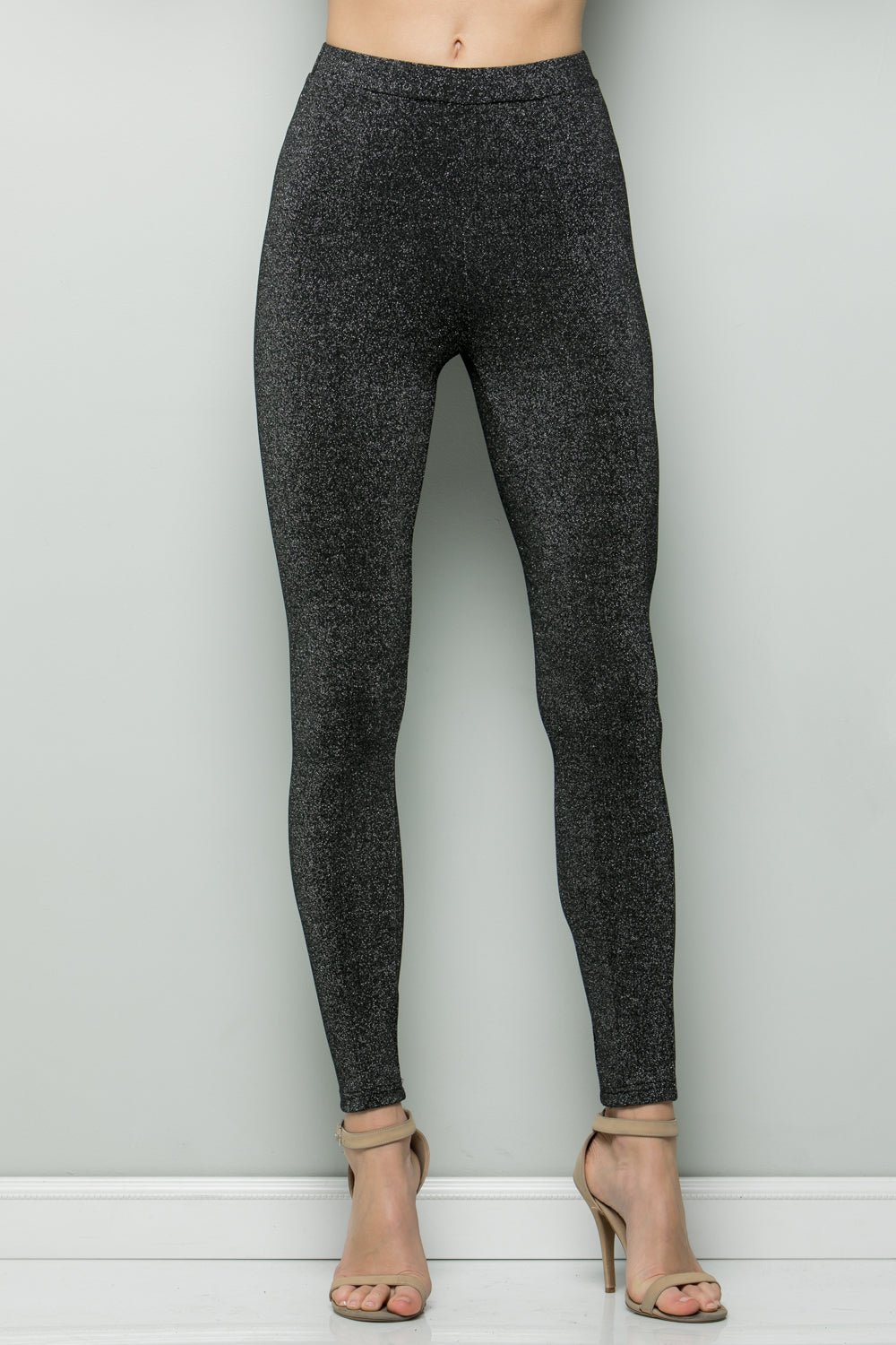 P7041 Lurex Leggings - BLACK