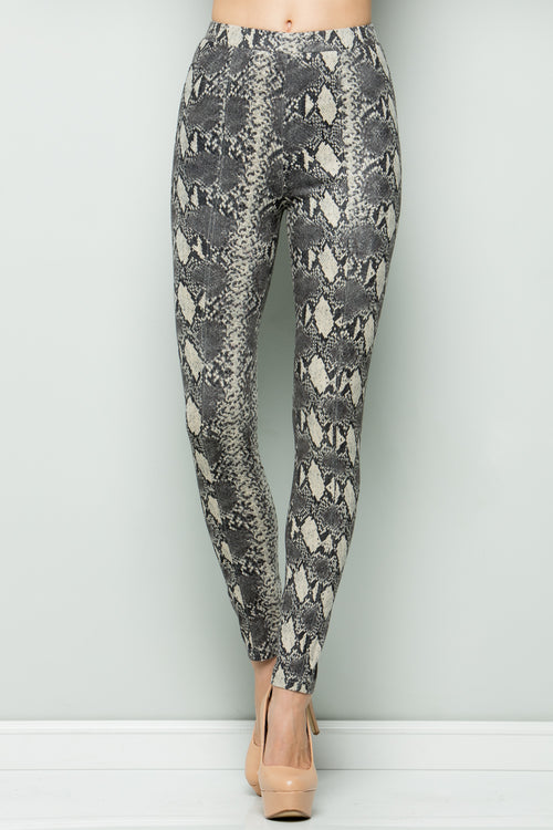 P7042 Snake Leggings - Taupe