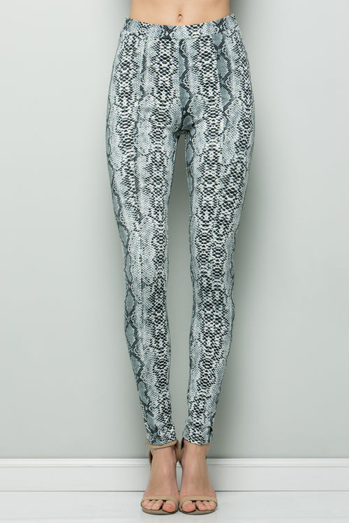 P7043 Animal Print Leggings - Off White