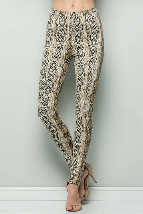 P7043 Animal Print Leggings - Taupe