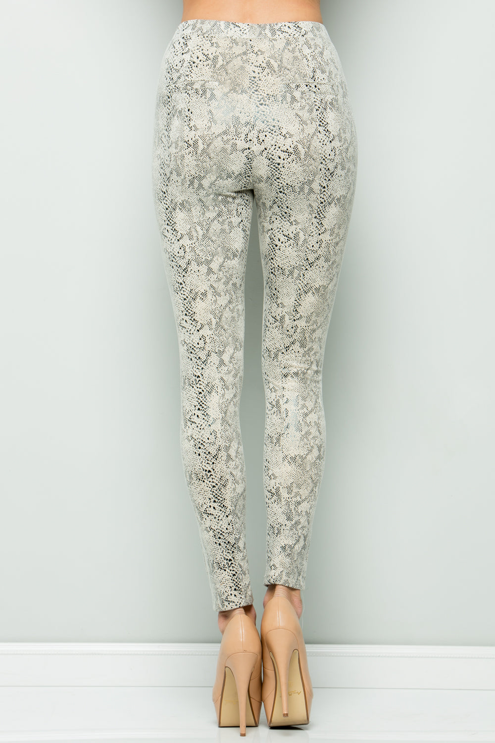 P7045 Snake Skin Leggings - PURPLE GREY