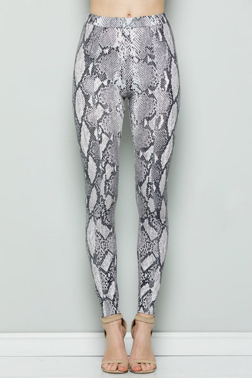 P7049 SNAKE SKIN PRINT THIN LEGGINGS