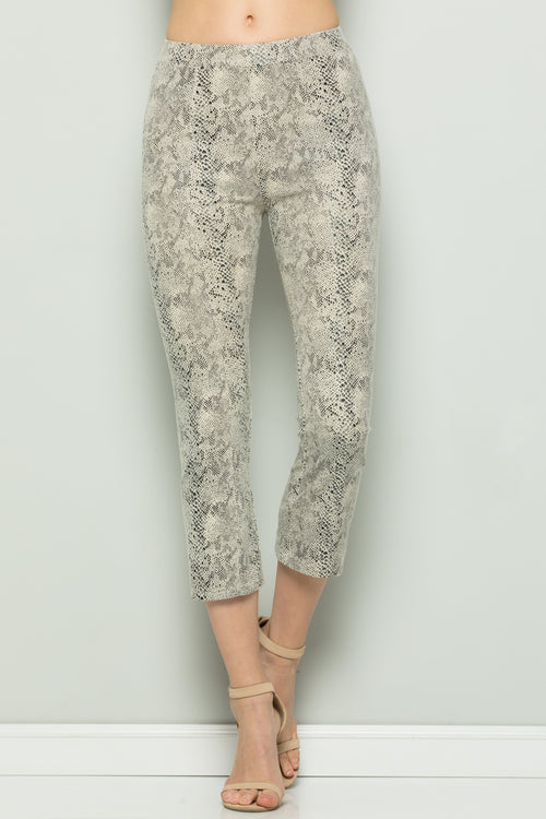 P7058 Snake Skin Cropped Pants - Off White