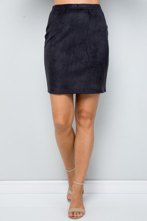 S9042 Faux Suede Skirts - BLACK