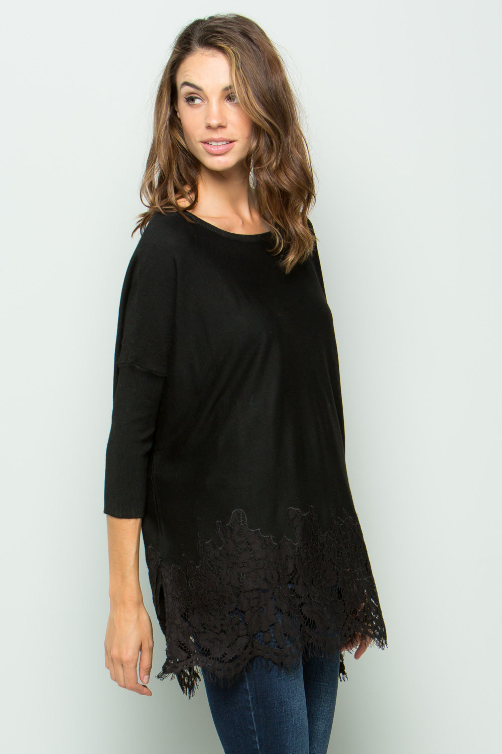 SW6001 Lace Trim Sweater - Black