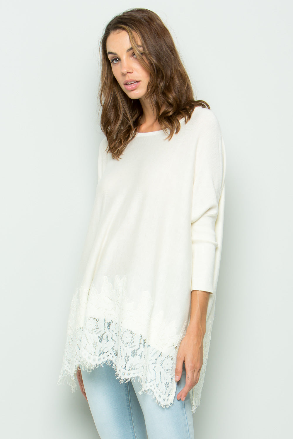 SW6001 Lace Trim Sweater - Cream
