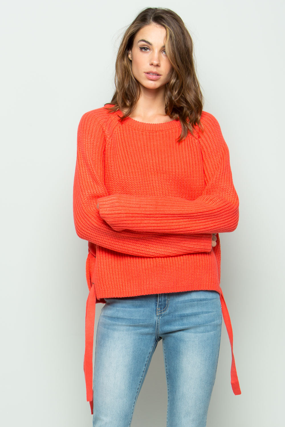 SW6022 Side Detail Sweater - Coral