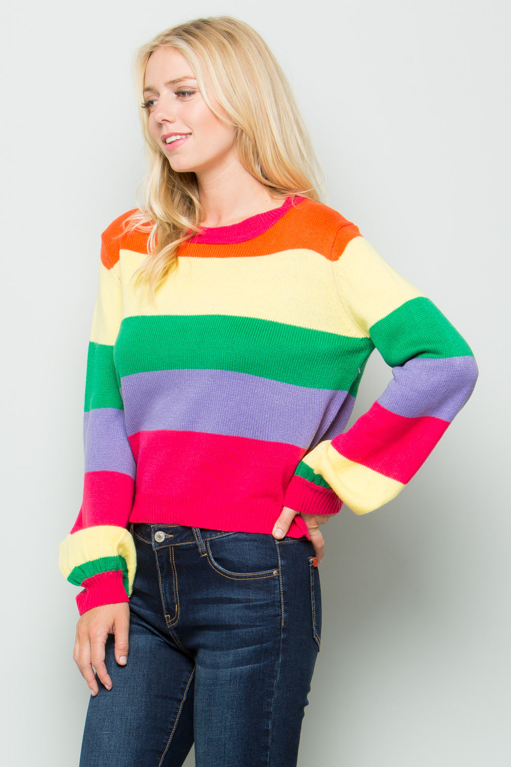 SW6043 Natural Stripe Sweater