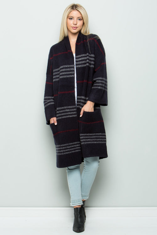 SW6044 Plaid Navy Sweater Cardigan