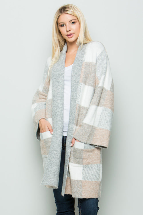 SW6045 Plaid Long Cardigan