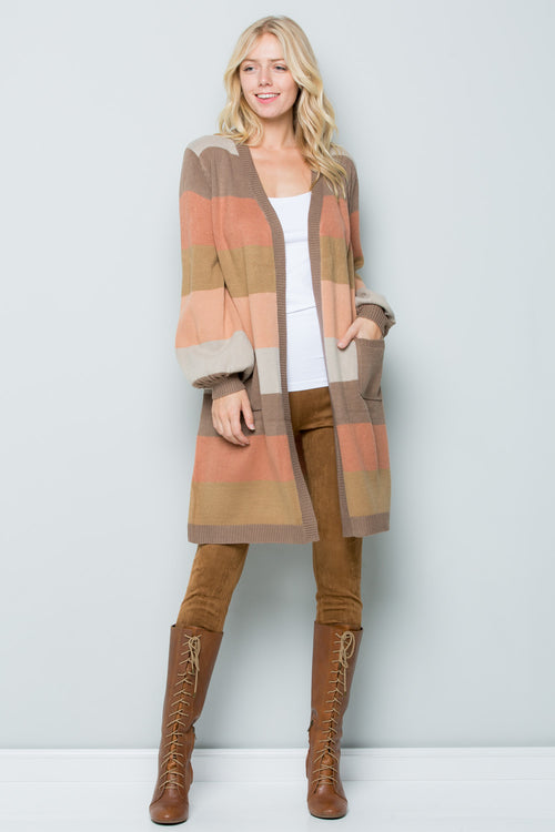 SW6047 Natural Stripe Cardigan