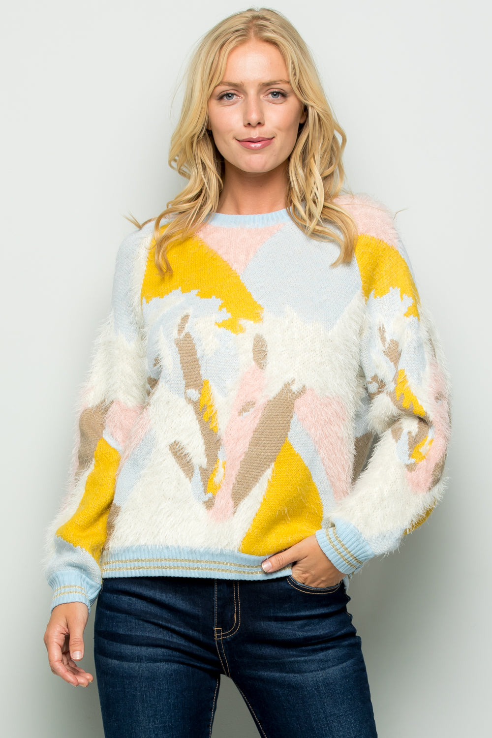 SW6068 Jacquard Sweater Pullover Top
