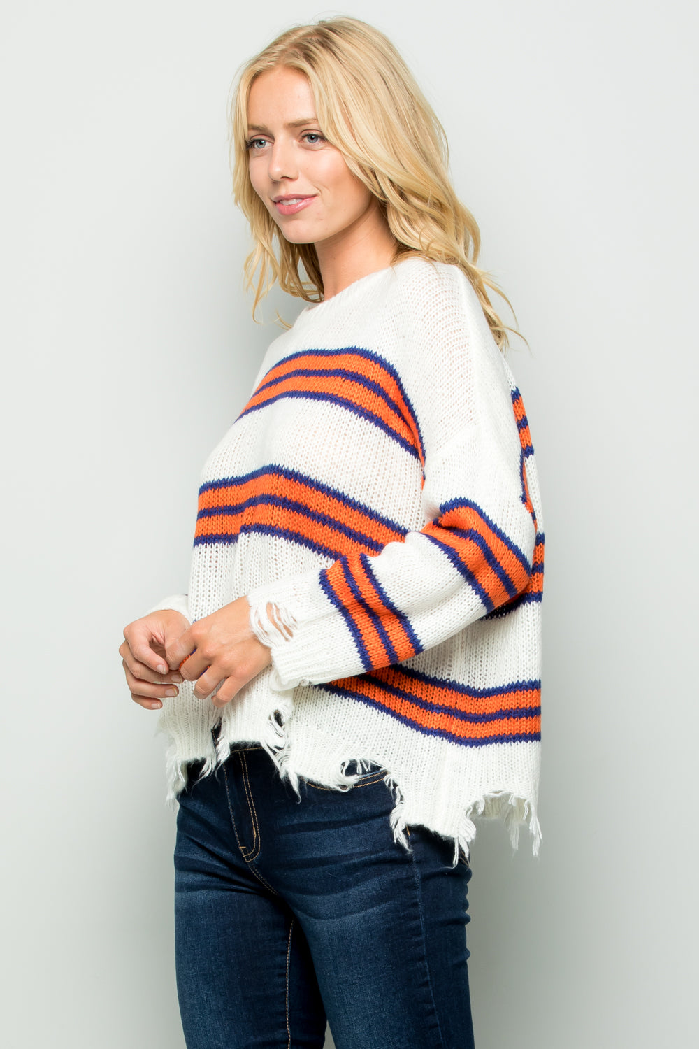 SW6070  Striped Distressed Sweater Top - Coral