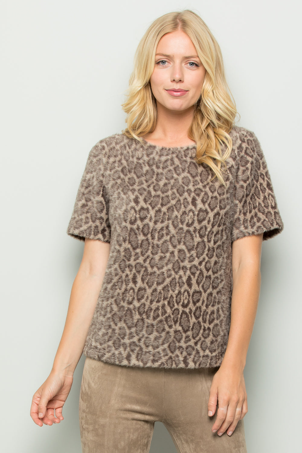 SW6073-1 Cheetah Print Sweater Top - OFF WHITE