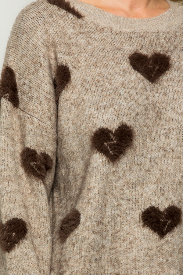 SW6074  Heart Embellished Sweater Top - Brown
