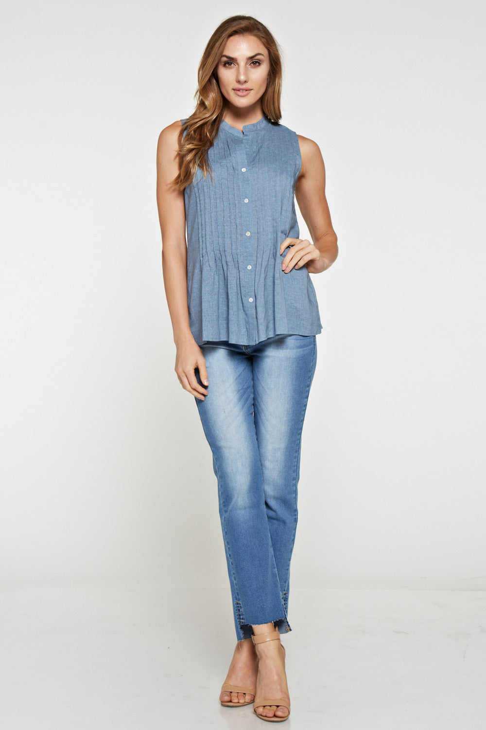 T2042 Denim sleeveless Blouse