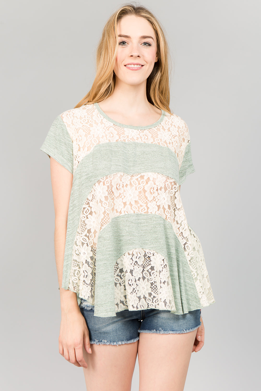 T2114 Lace Top - BLUSH