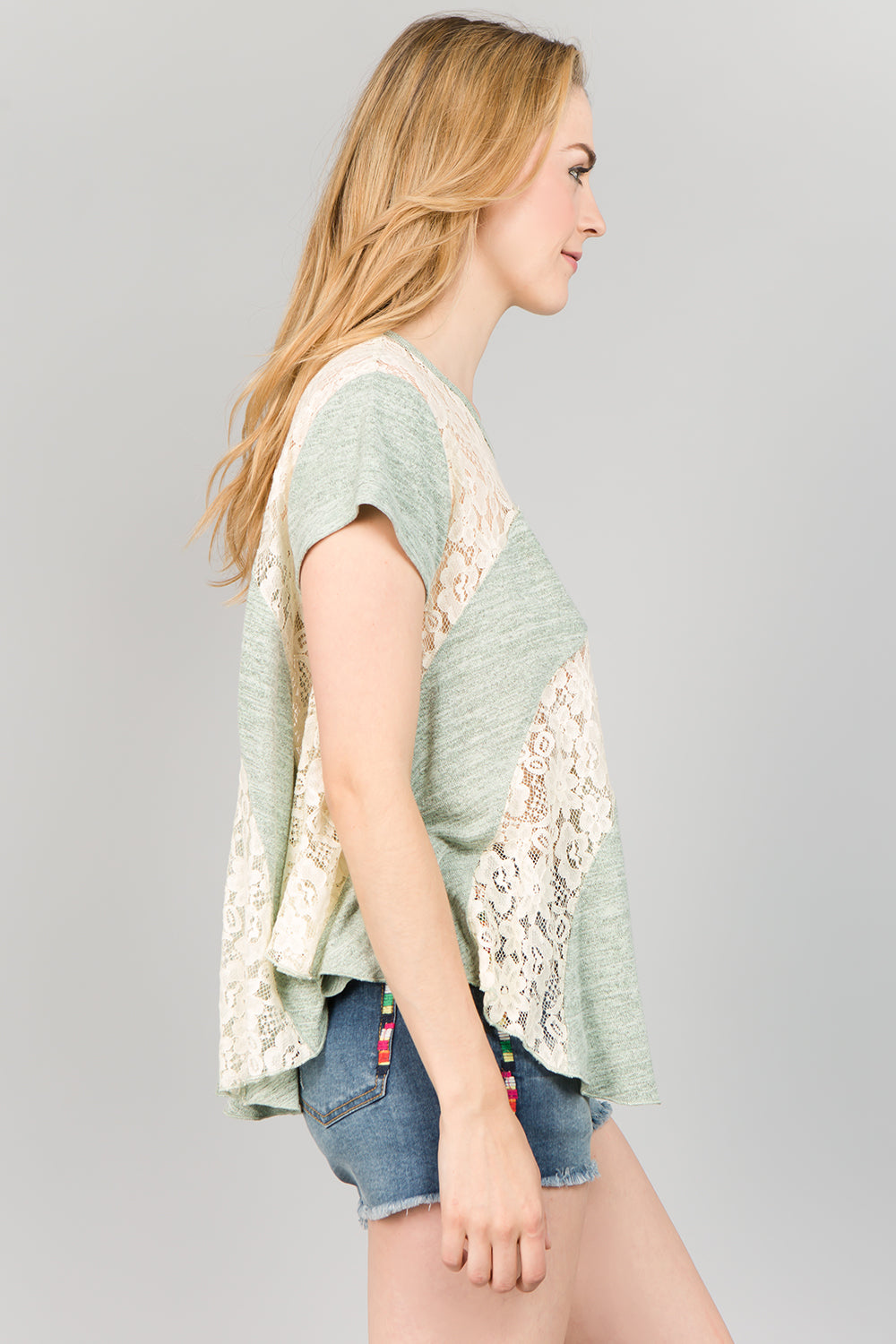 T2114 Lace Top - LIGHT GREEN