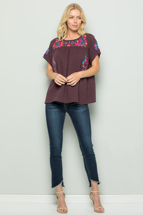 T2185  Floral Embroidery - Plum