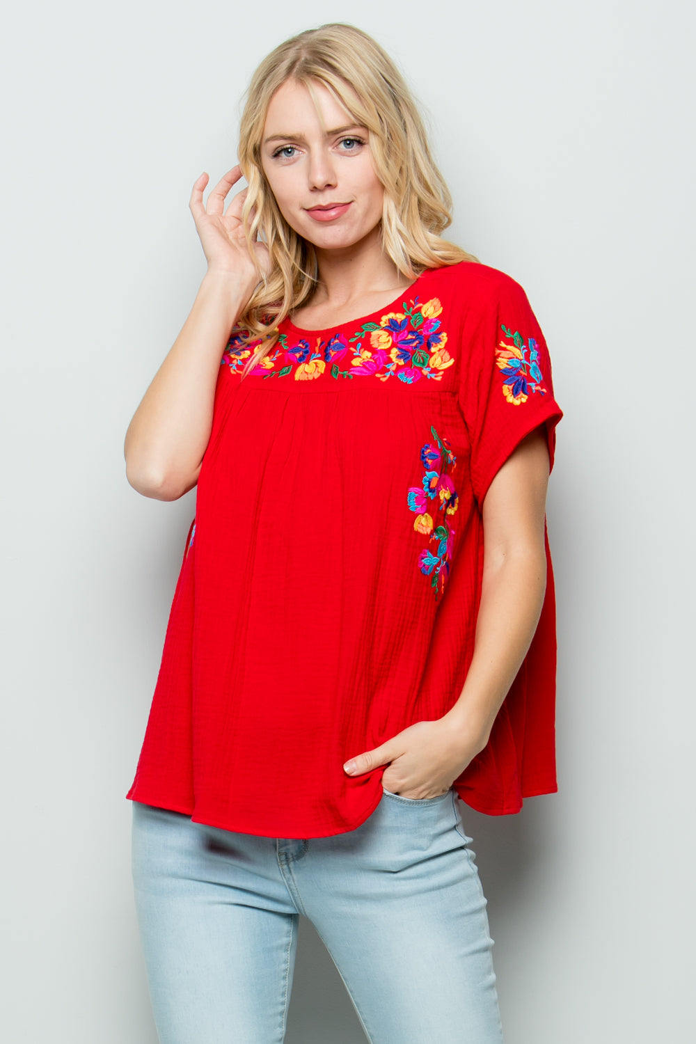 T2185 Floral Embroidery - Fuchsia