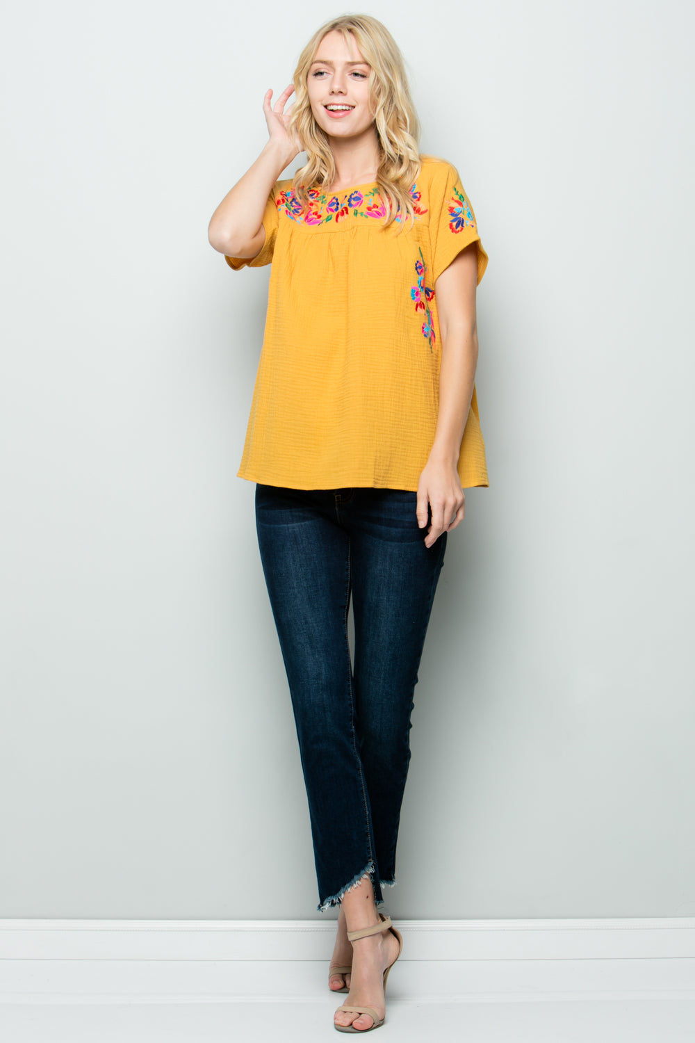 T2185  Floral Embroidery - NAVY