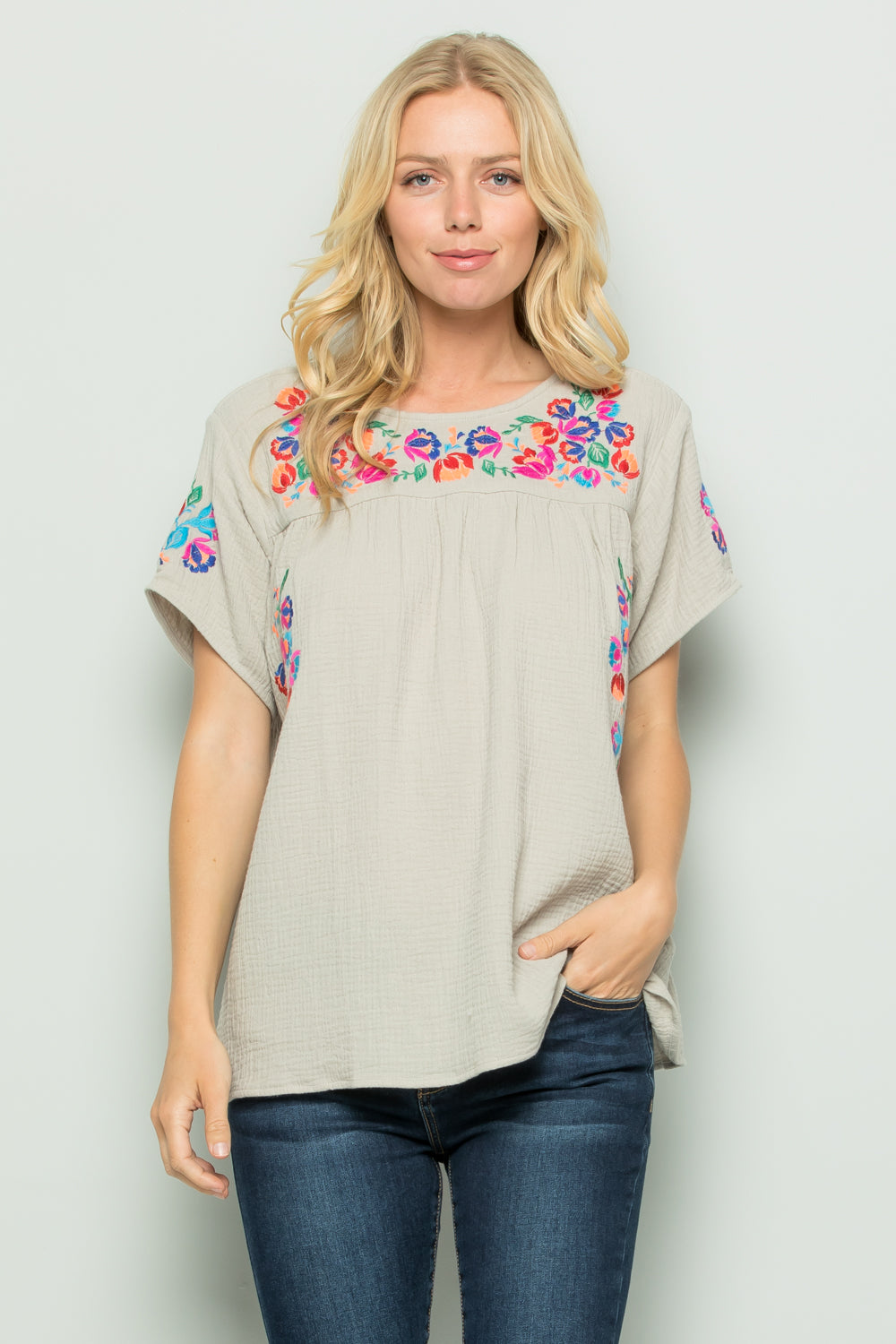 T2185  Floral Embroidery - Grey