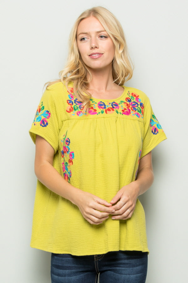 T2185  Floral Embroidery - Yellow