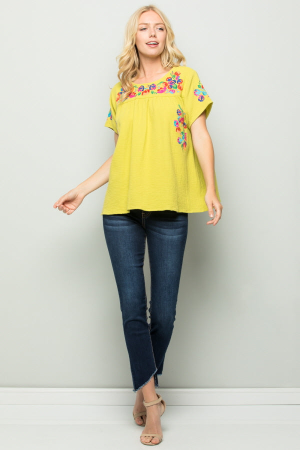 T2185  Floral Embroidery - LIME