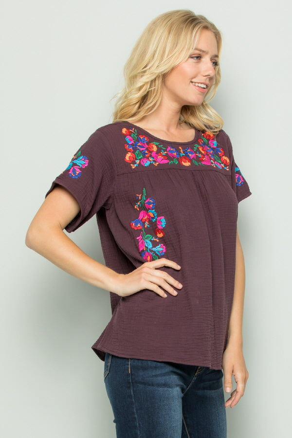 T2185  Floral Embroidery - RED