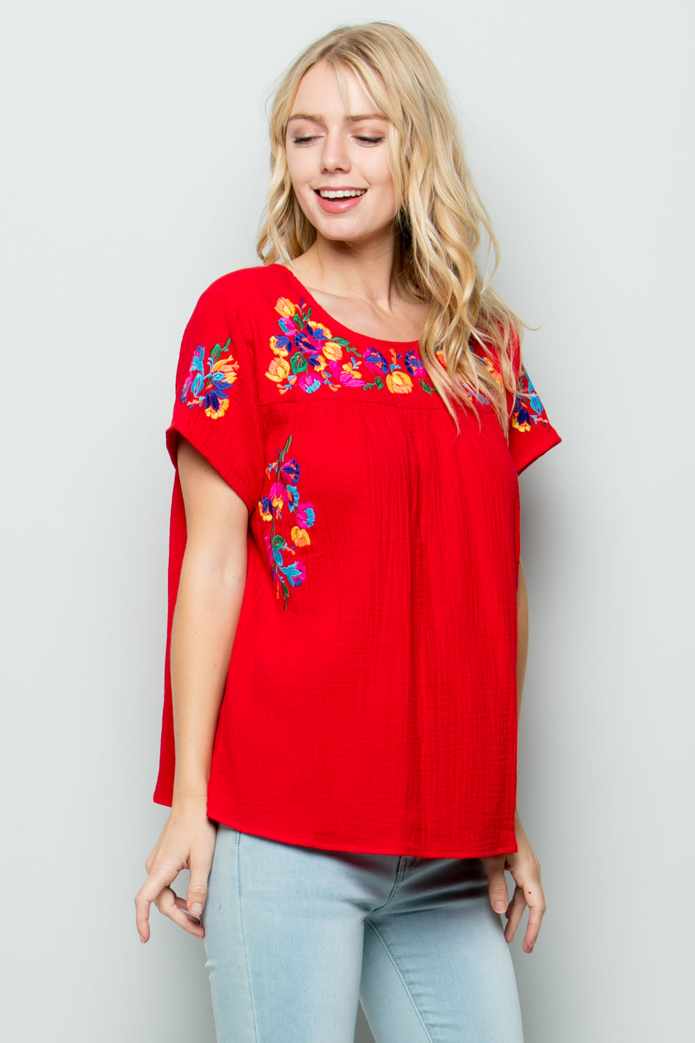T2185  Floral Embroidery - Burgundy