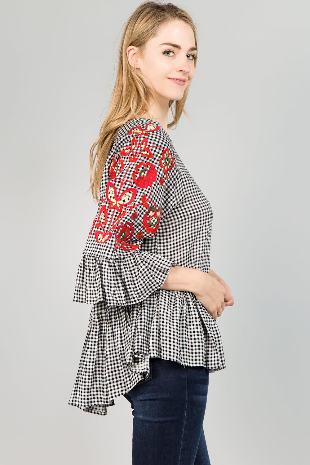 T2233 Floral Embroidery Gingham Top