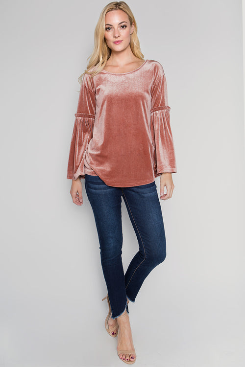 T2235 Pleated sleeve Top