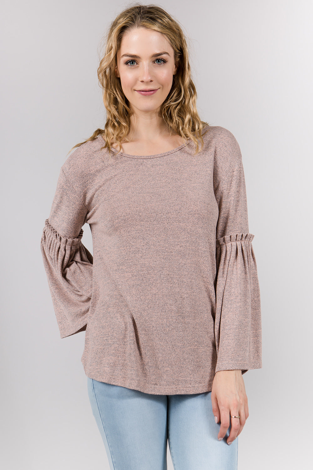 T2323 Pleated knit Top