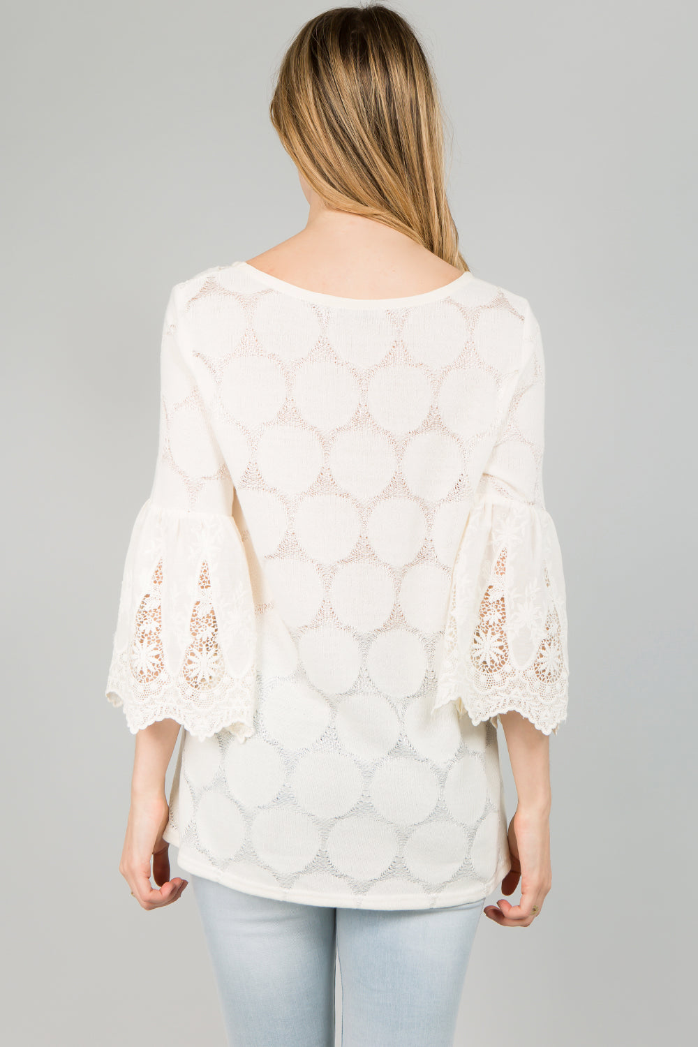 T2340 Lace Trim Bell Sleeve Top