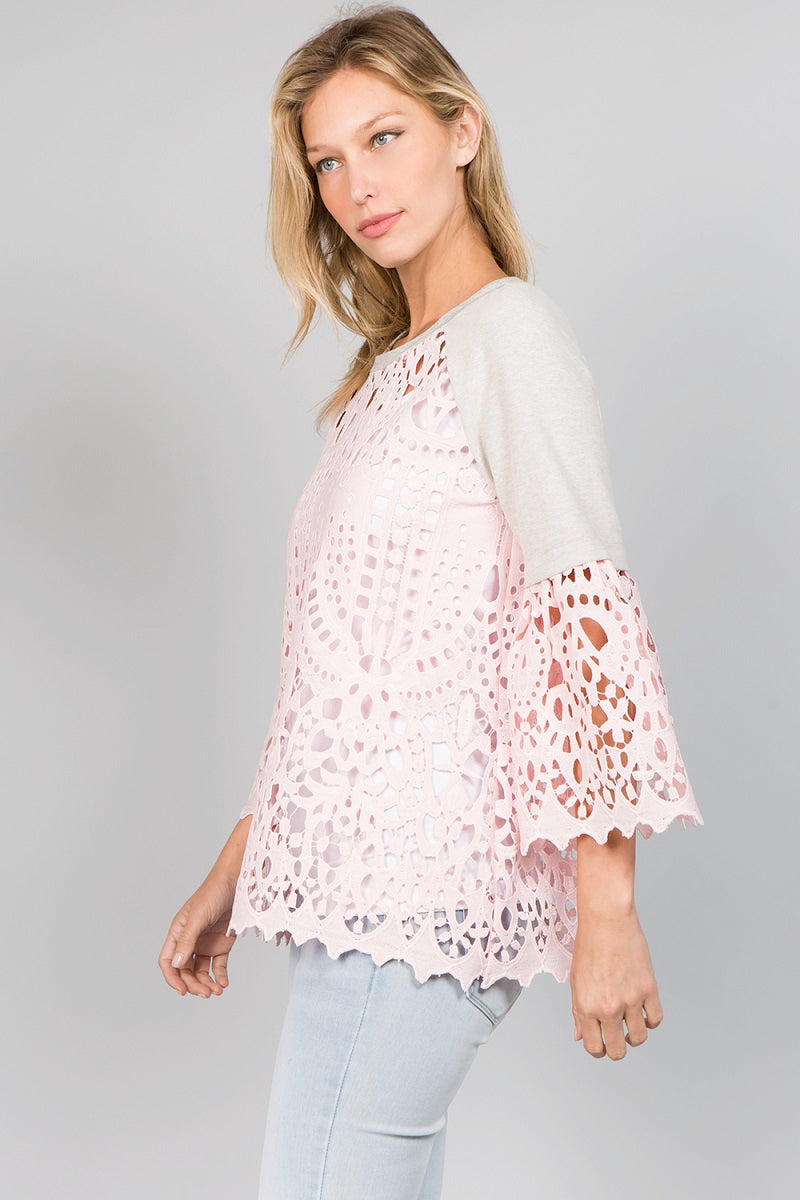 T2360 Lace Sweatshirts - Grey/Pink