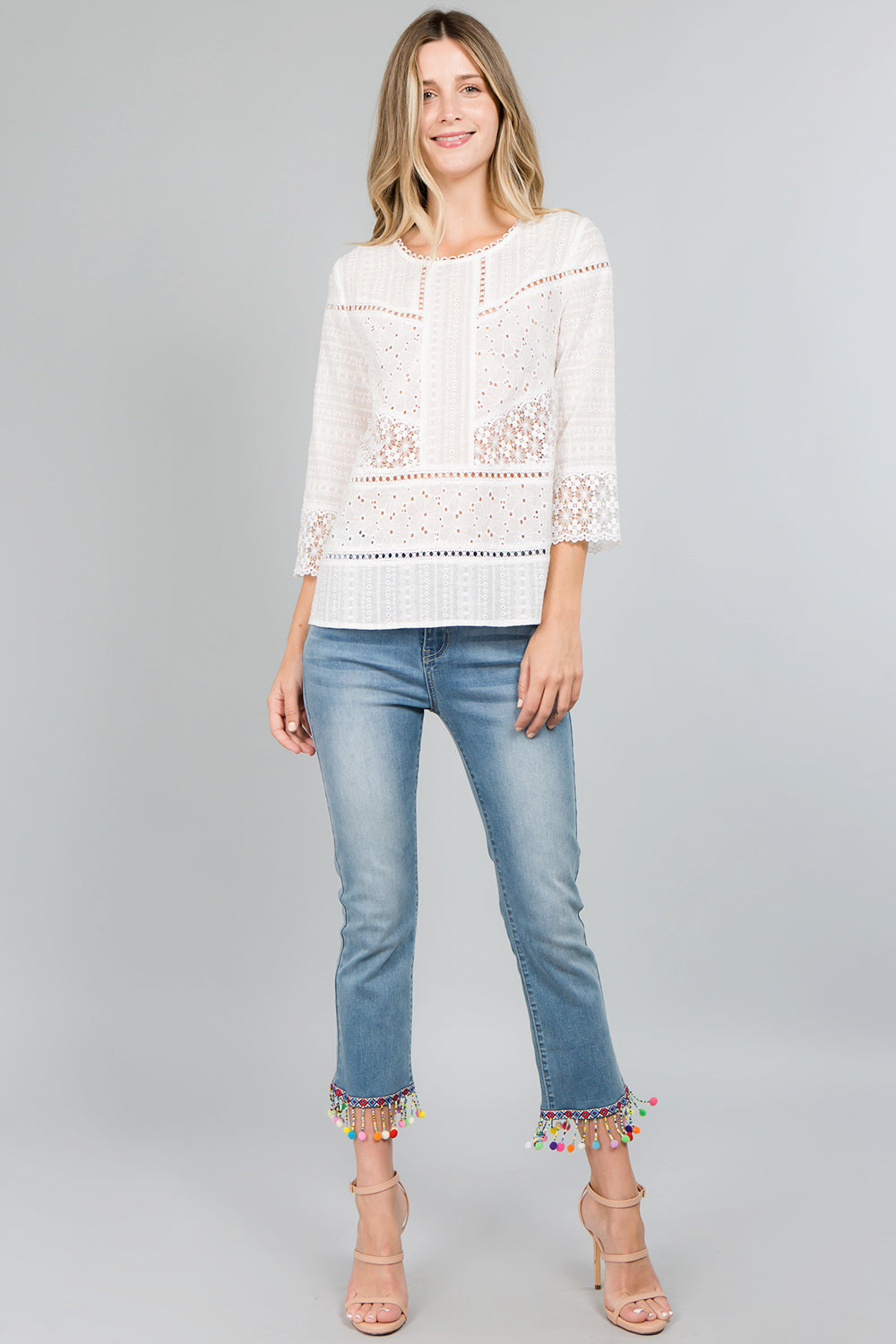 T2370 Eyelet and Lace Patch Top