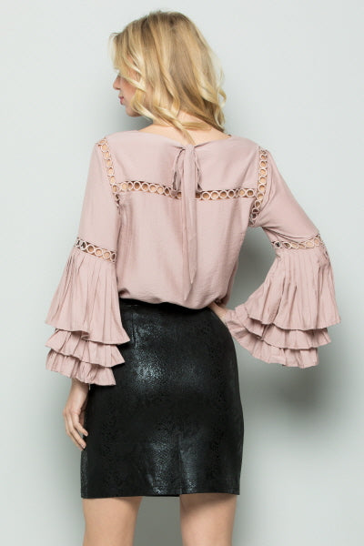 T2375 Layered Pleats Sleeve Top - Mauve