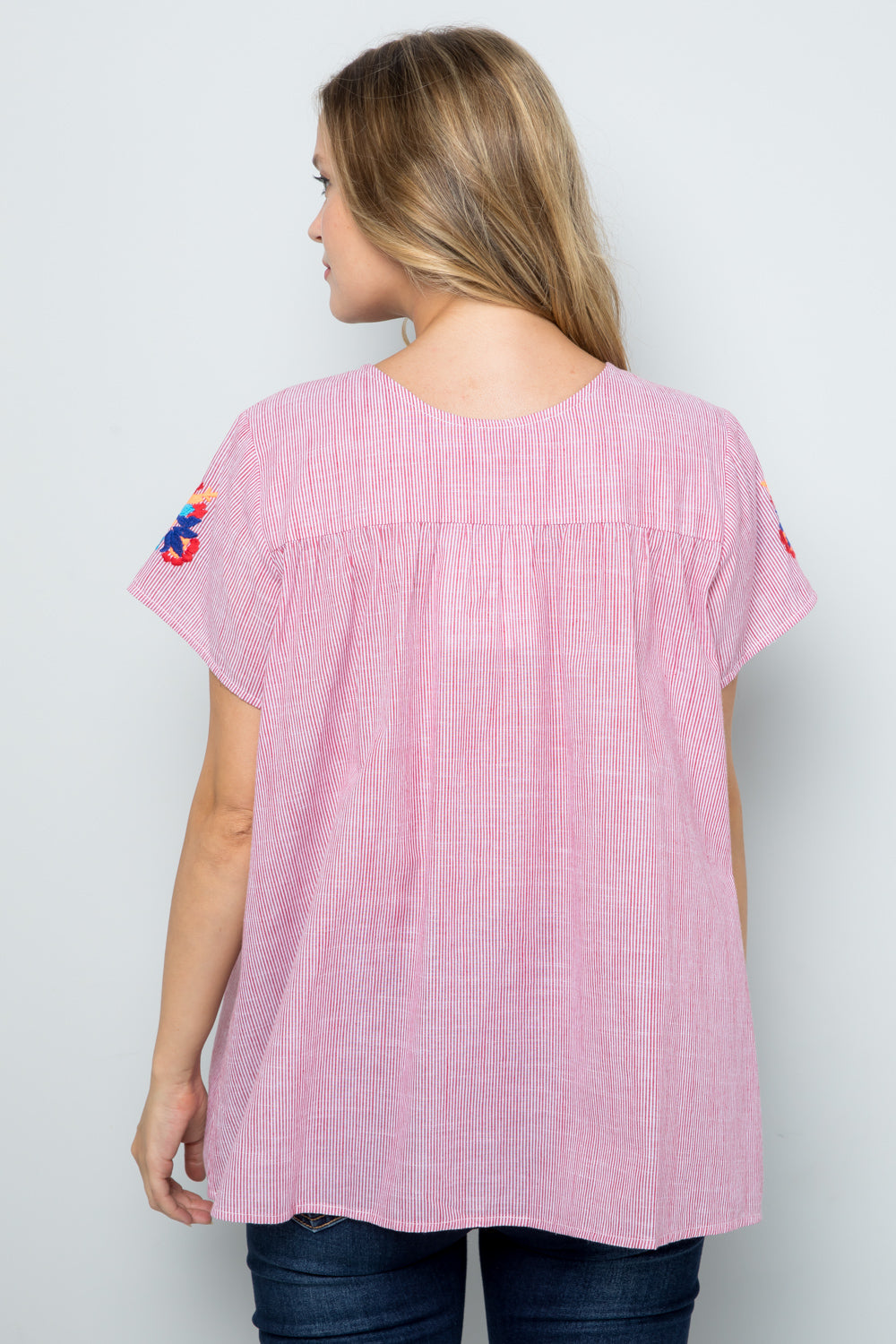 T2377 COLOR EMBROIDERY DETAIL STRIPE TOP - RED