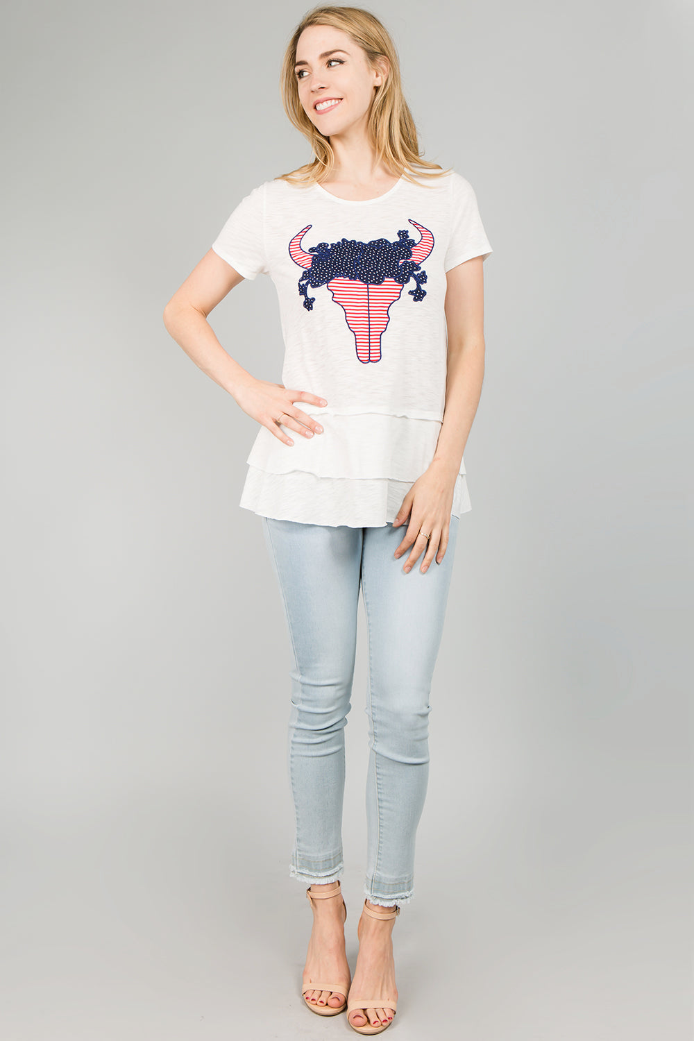 T2380 Cow Skull patch Knit Top