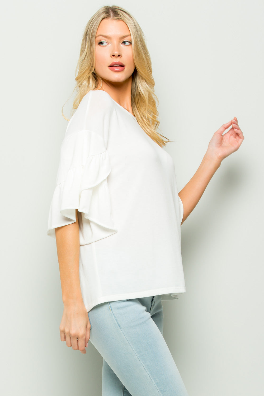 T2382 Ruffle Sleeve Knit Top - White