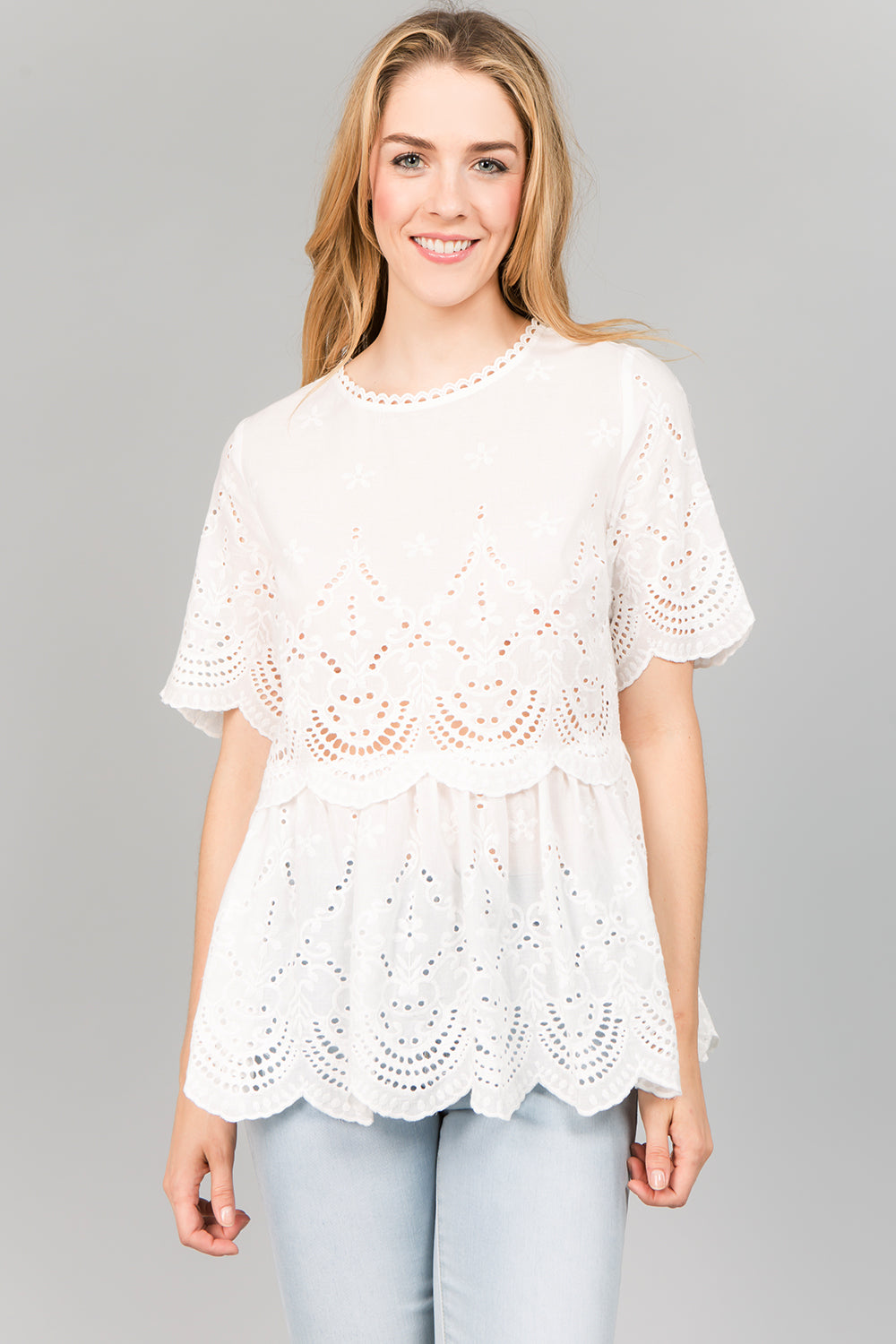T2419 Embroidery Scallop Detail Peplum Top