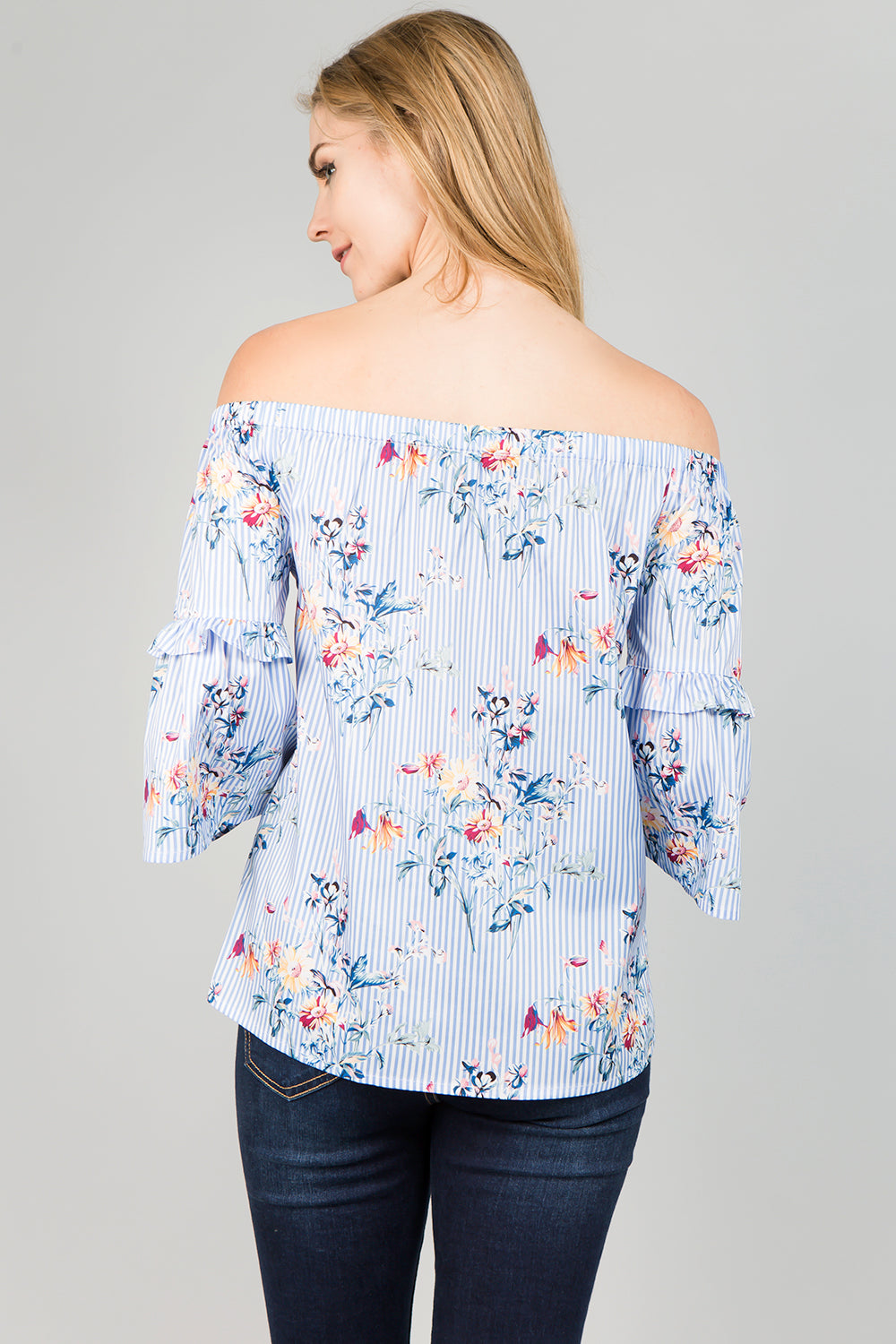T2420 Striped Floral print off shoulder Top
