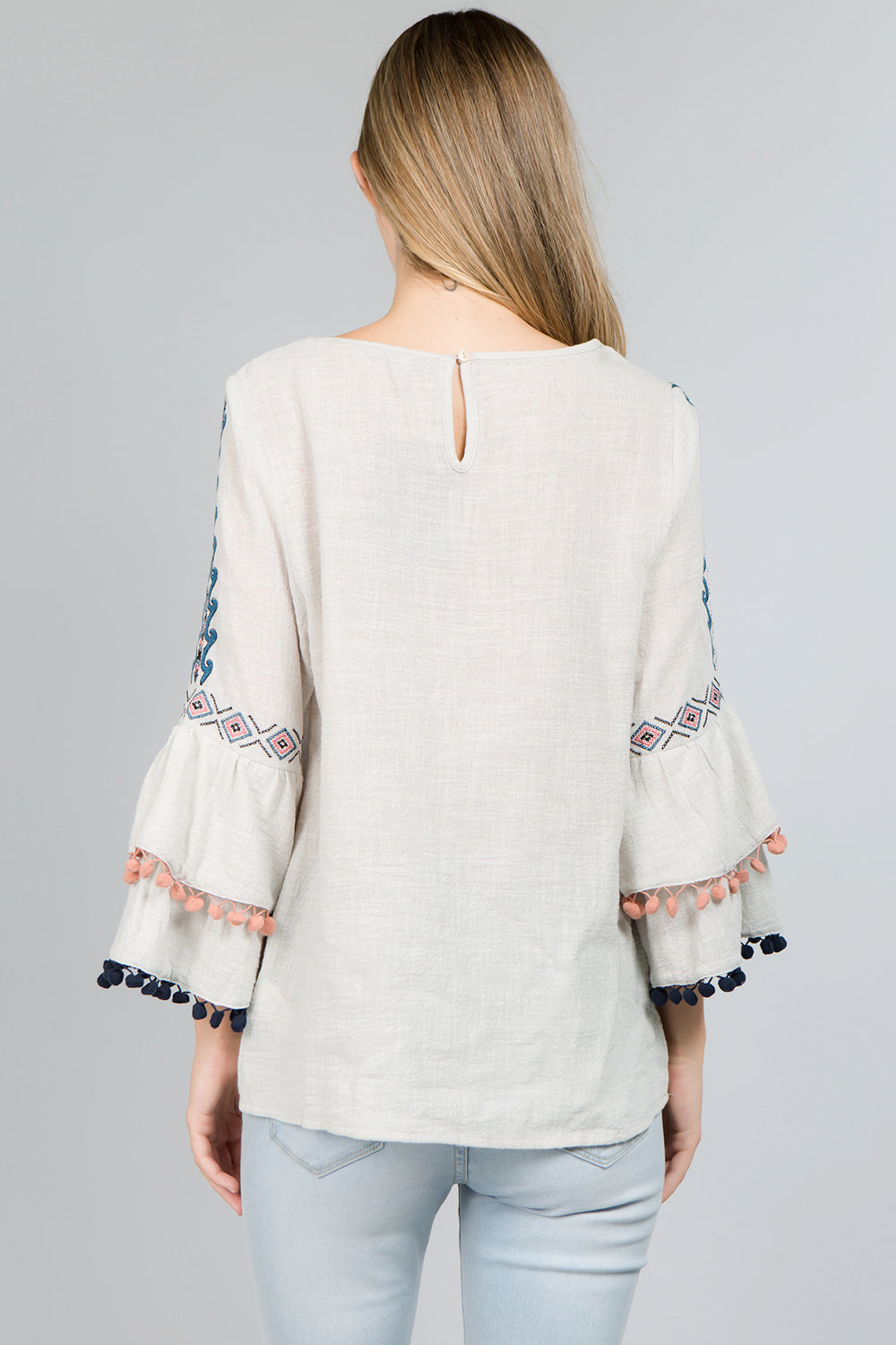 T2429 Pompom  Embroidery Top