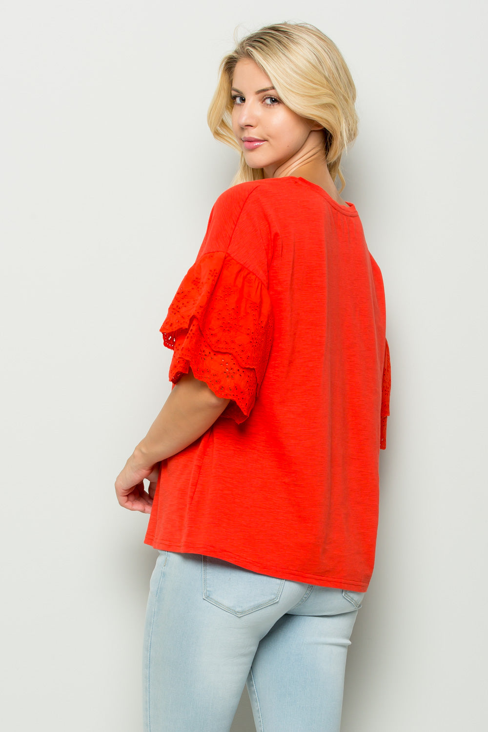 T2442 Double Eyelet Ruffle sleeve Top - Red