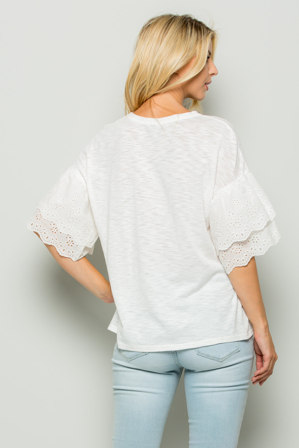 T2442 Double Eyelet Ruffle sleeve Top - White