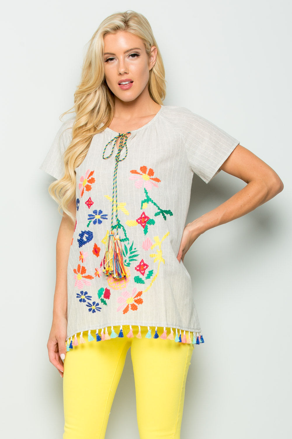 T2459 Multi Color Floral Embroidery Top - Taupe