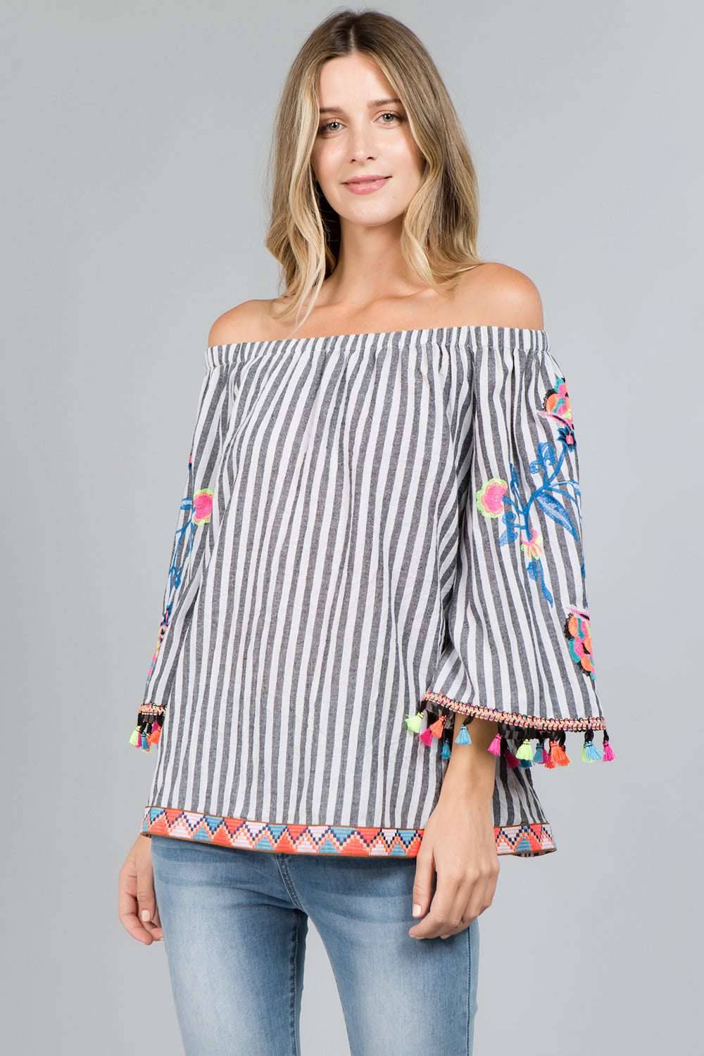 0d549d51 T2461 Floral Embroidery Striped Top – SeeandBeSeen