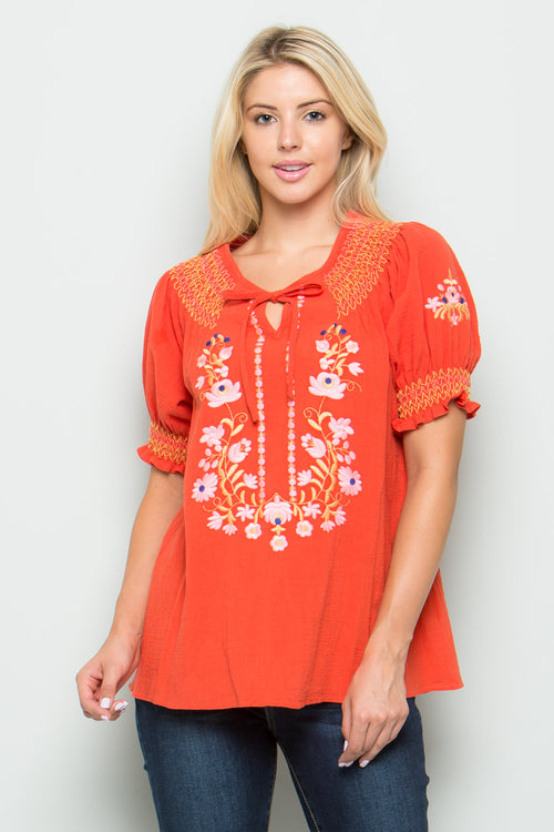 T2464 Floral Embroidery Top