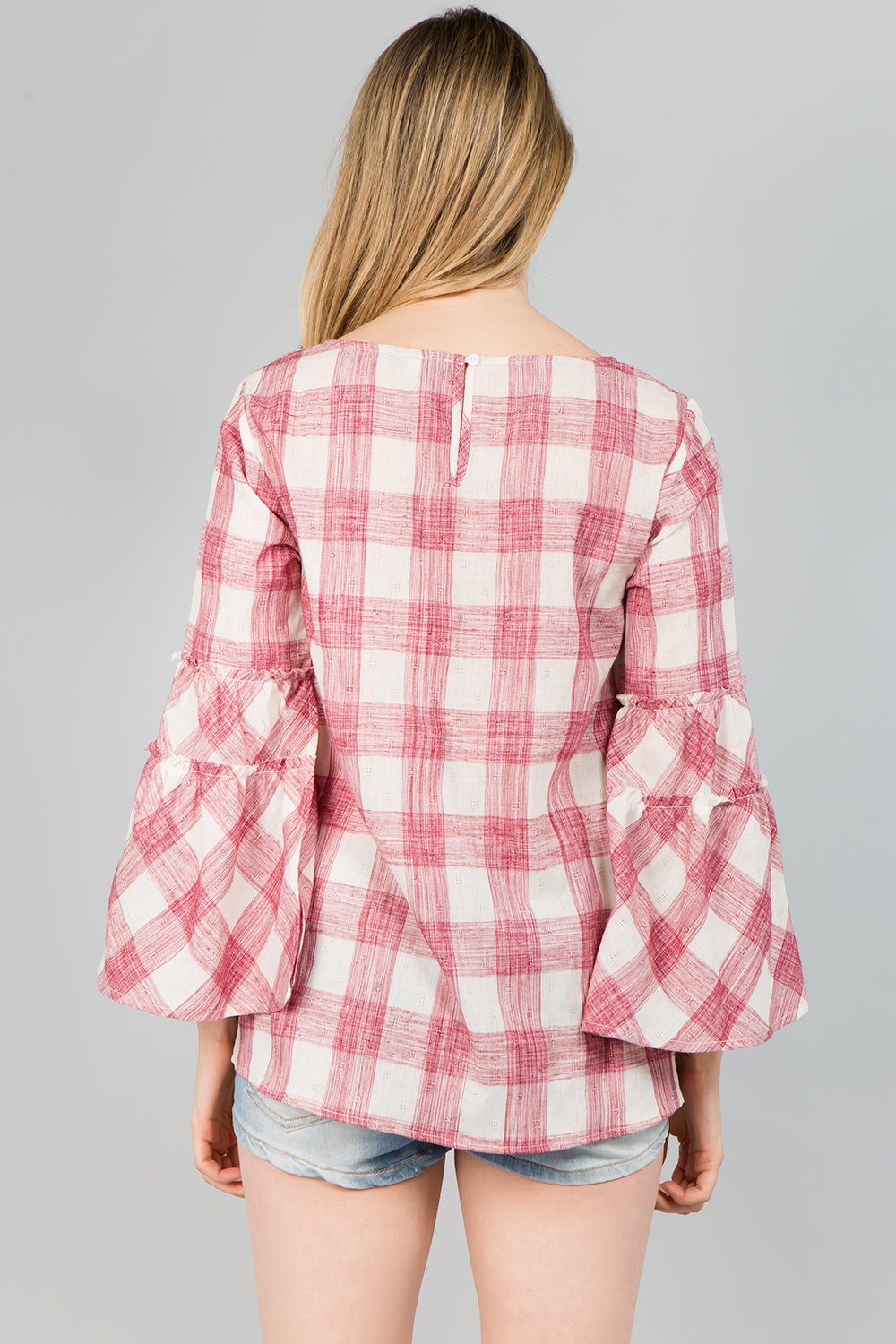 T2474 Bell sleeve Plaid Top