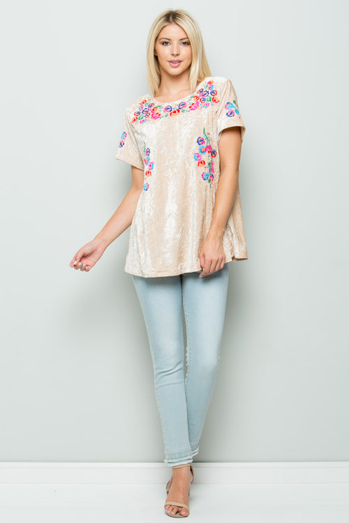 T2483 Floral Embroidery Velvet Top